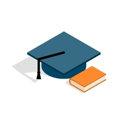 Student hat and book icon isometric 3d style vector