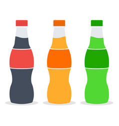 three bottles with soda in plastic tarre vector image