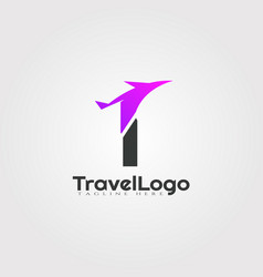 Travel agent logo design with initials i letter vector