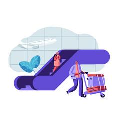 traveler passengers waiting for departure airport vector image