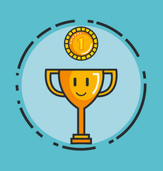 Trophy gold coin video game play award vector
