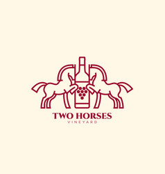 two horses vineyard vector image