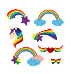 Unicorn with closed eyes rainbows stars heart vector
