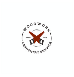vintage crossed saw carpentry logo design vector image