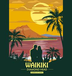 waikiki island o ahu retro vintage style travel vector image