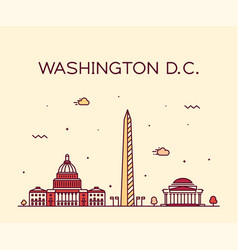 Washington d c usa linear art style city vector