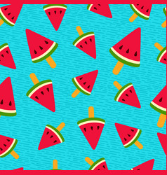 Watermelon ice cream summer seamless pattern vector