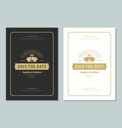 wedding save the date invitations cards design vector image