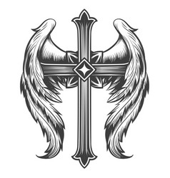 winged cross engraving tattoo vector image
