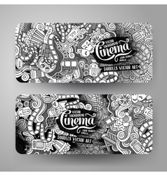 Cartoon doodles cinema banners vector image vector image