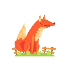 Common Red Fox With Fluffy Coat Standing On Green vector image vector image