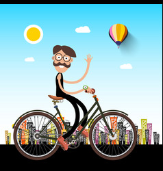 man on bicycle with city on background vector image vector image