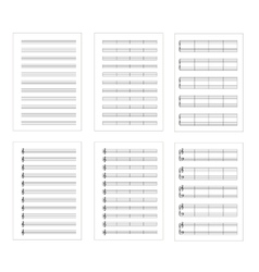 Set of six types music note staves a4 sheets vector