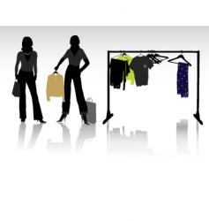 shopping lady vector image vector image