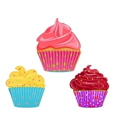 Collection of cupcakes muffins vector image vector image