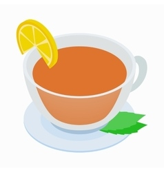 Cup of tea with mint and lemon icon vector image vector image