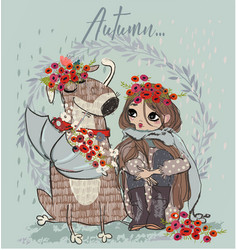 cute autumn girl with dog vector image