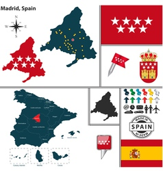 Map of Madrid vector image