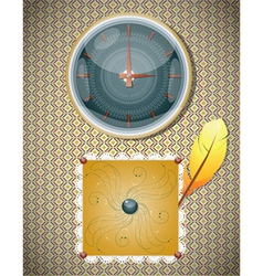 Retro background with clocks and feather vector image