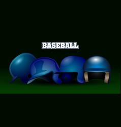 set of baseball helmets vector image