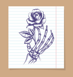skeleton arm sketch with rose vector image vector image