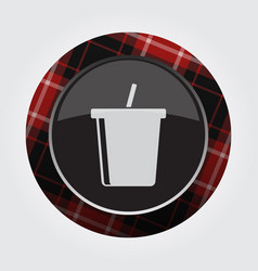 Button red black tartan - cold drink with straw vector