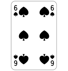 Poker playing card 6 spade vector