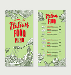 vintage italian food restaurant menu template vector image