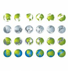 world map globe collection vector image