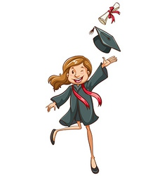 A simple drawing of a happy girl graduating vector image vector image