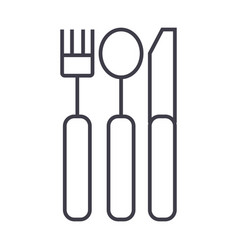 cutlery line icon sign on vector image