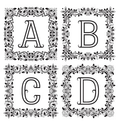 Vintage monograms set A B C D outline letters in vector image