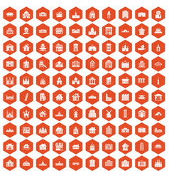 100 building icons hexagon orange vector