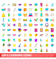 100 e-learning icons set cartoon style vector image