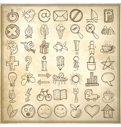 49 hand draw web icon design elements vector image