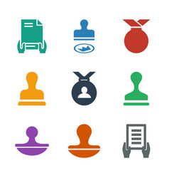 9 certified icons vector