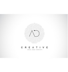Ad a d logo design with black and white creative vector