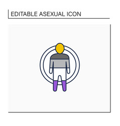 Asexual line icon vector