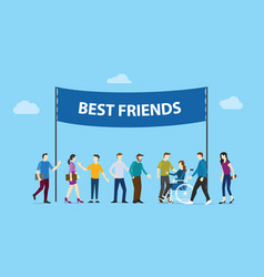 best friends big words text banner with community vector image