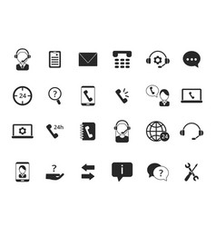Black symbols of online support icon set of call vector