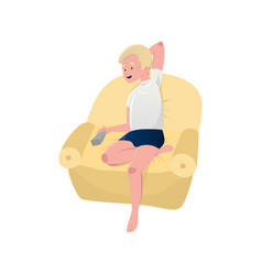 blonde man sitting relaxed on armchair with vector image