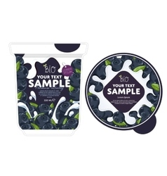 Blueberry Yogurt Packaging Design Template vector image