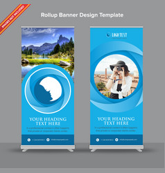 blues shaded rollup banner design with circular vector image