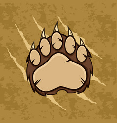 brown bear paw with claws vector image