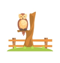Brown Owl With Fluffy Feather Coat Sleeping On The vector