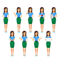 business woman in various poses female vector image