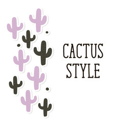 cactus style background pattern cute vector image