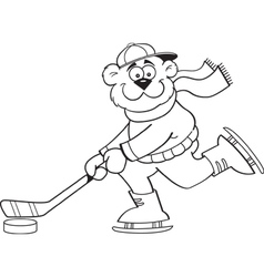 Cartoon bear playing hockey vector