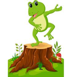Cartoon funny frog sitting on tree stump vector
