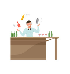 Cheerful bartender juggling colorful bottles vector